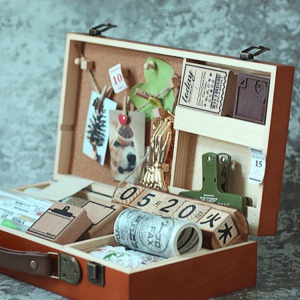 3 9 600x600 - PREORDER | Wooden Stationery Storage Box (Dark Brown)